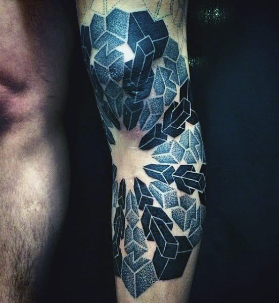 Blue Square Sacred Geometry Tattoo Styles For Men