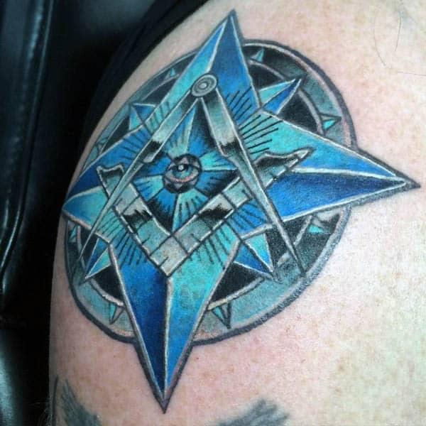 Blue Star Masonic Mens Shoulder Tattoos