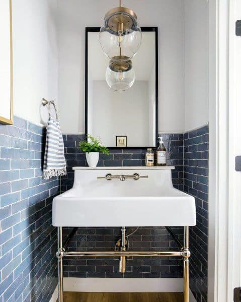 Blue Subway Tile With White Painted Walls Bathroom Backsplash Ideas