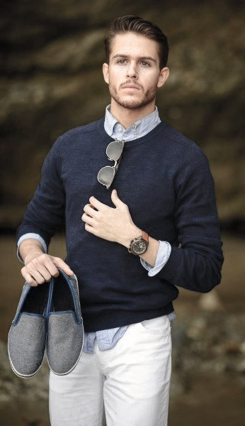 Blue Sweater With White Pants Casual Wear Style Looks For Men