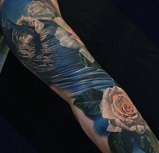 Blue Tattoo Waves For Men With Flower