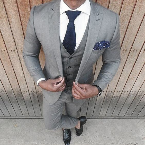 Blue Tie And Pocket Square Light Grey Suit Black Shoes Styles For Men