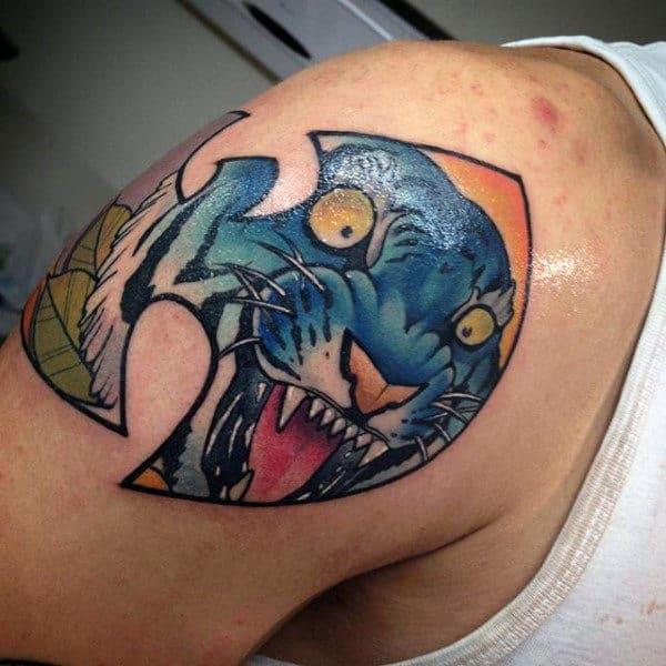 Blue Tiger Wu Tang Mens Shoulder Tattoos