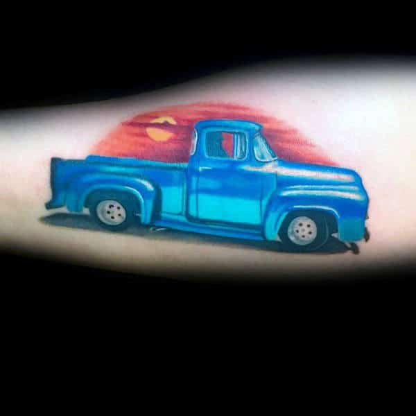 Blue Truck With Sunset Mens Arm Tattoo Design Ideas
