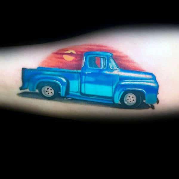 Blue Truck With Sunset Mens Arm Tattoo Design Ideas