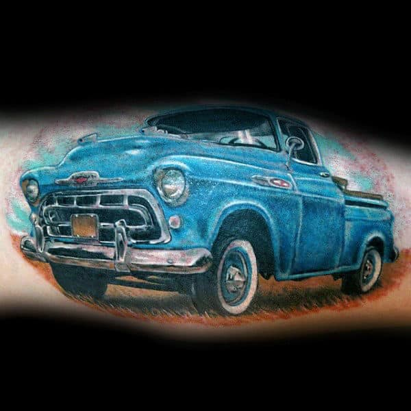 Blue Vintage Truck Mens Leg Calf Tattoos