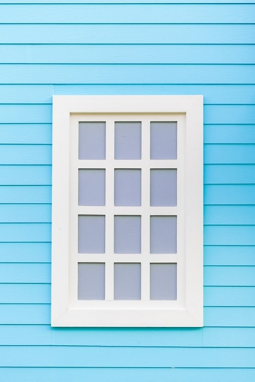 Blue Wall Wooden Window Trim