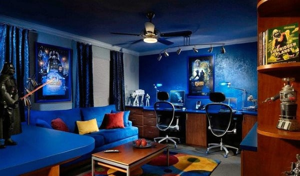 Blue Walls Mens Game Room With Office Design