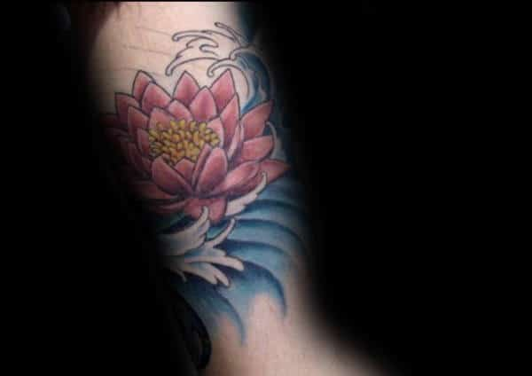 Blue Water With Lotus Flower Mens Inner Arm Tattoo Ideas