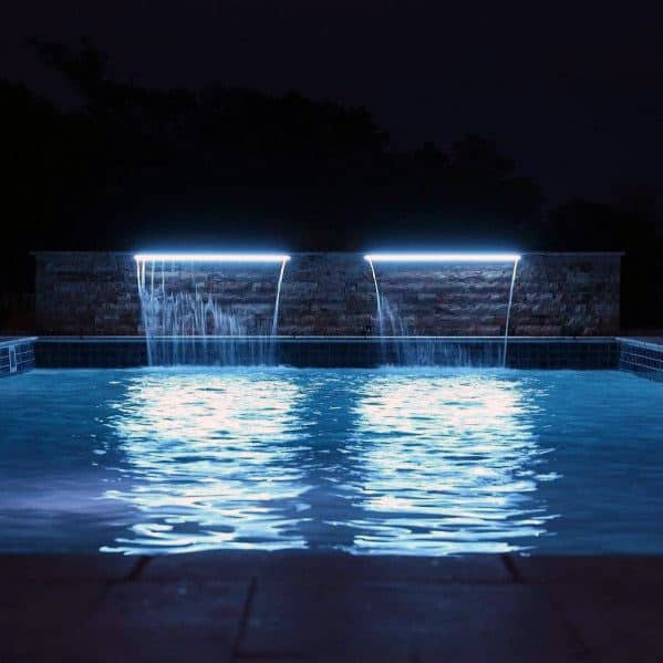 Blue Waterfall Modern Home Ideas Pool Lighting