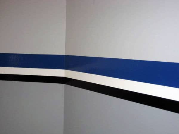 Blue White And Black Stripped Design Garage Wall Paint