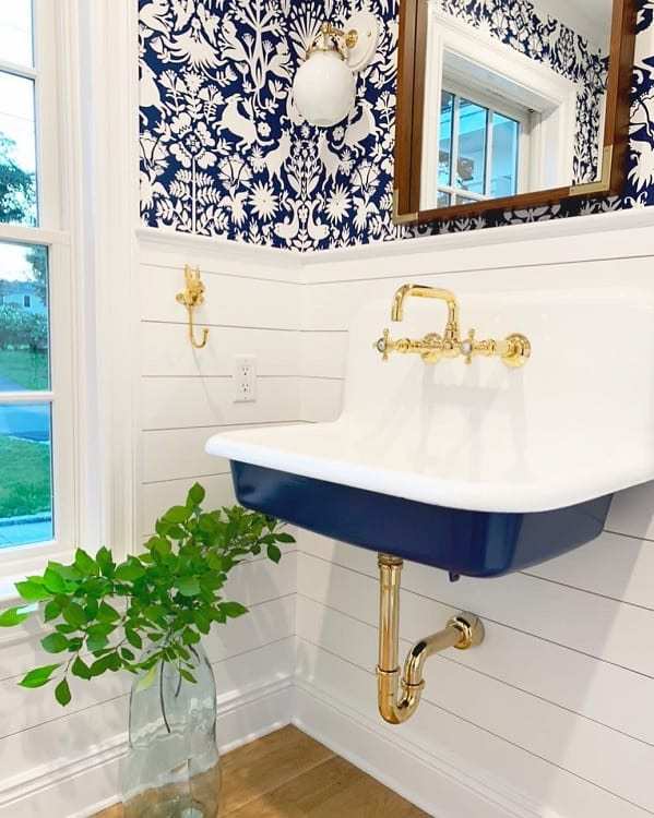 Blue White Farmhouse Bathroom Wainscoting Themeredithproject
