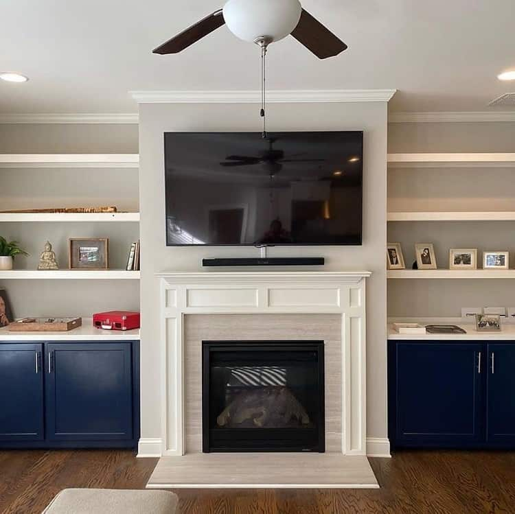 Blue White Tile Fireplace Surround Elementworldwide