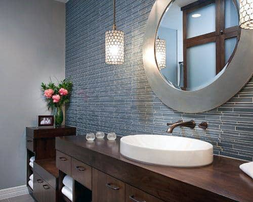 Blue Wide Tiles Bathroom Backsplash Ideas