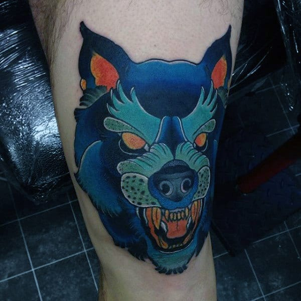 Blue Wolf Knee Tattoos For Men
