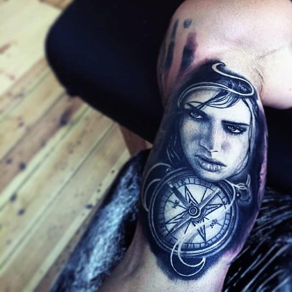 Bluish Grey Lady And Compass Tattoo Inner Biceps
