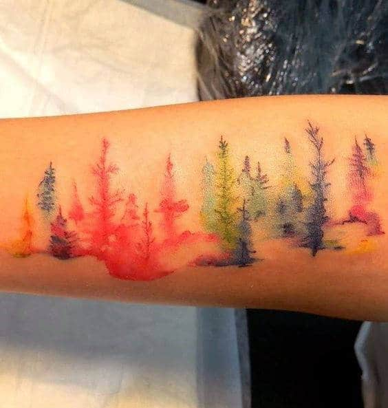 Blurred Watercolor Trees Tattoo Male Forearms