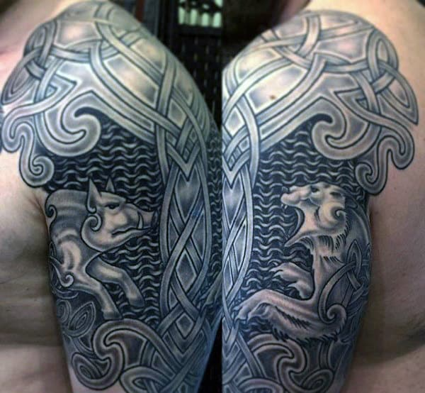 Boar And Bear Mens Half Sleeve Celtic Tattoo Inspiration