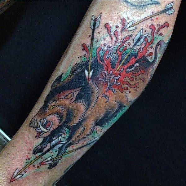 Boar Running From Arrows Mens Forearm Tattoo Design Ideas