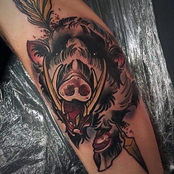 Boar With Arrow Mens Leg Tattoo Design Ideas