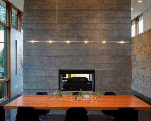 Board Form Concrete Fireplace Design