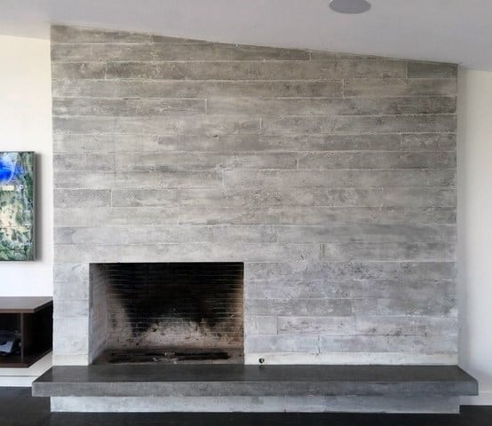High Quality Board Formed Concrete Fireplace Design Wood Burning