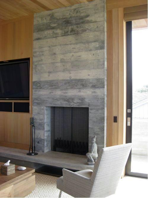 Board Formed Concrete Fireplace Design