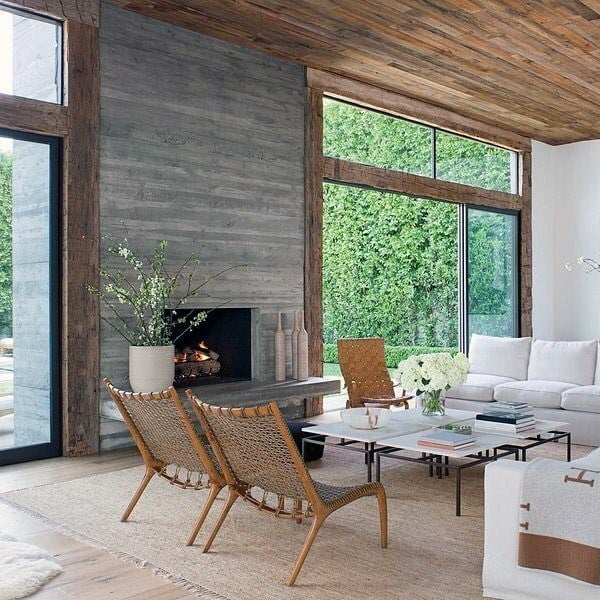 Board Formed Living Room Concrete Fireplace Design