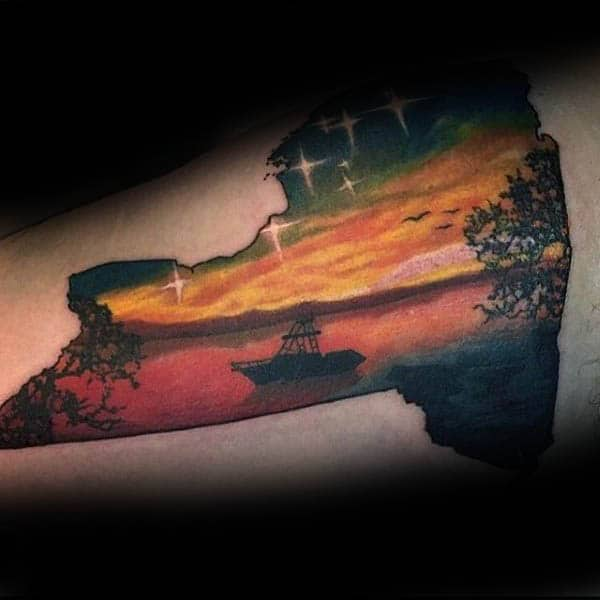 Boat Out On Lake Silhouette Mens State Tattoo