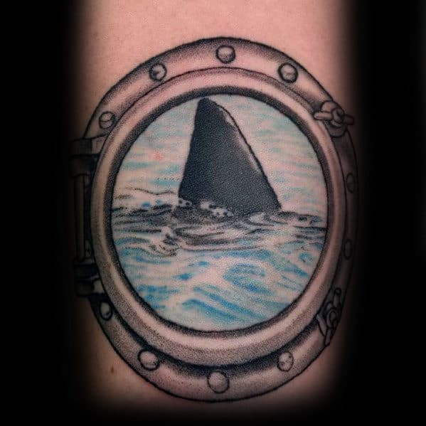 Boat Window Mens Shark Fin Tattoo On Forearm