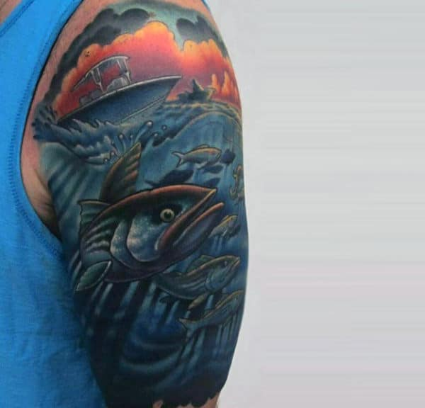 Boating And Fishing At Sunset Scene Half Sleeve Tattoo