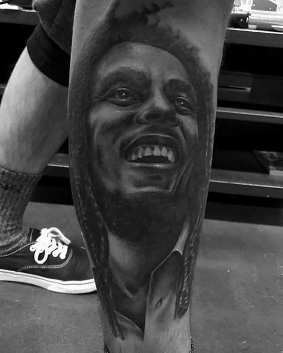 Bob Marley Mens Tattoo Ideas On Leg