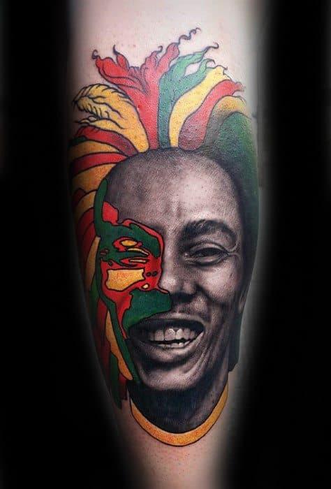 Bob Marley Tattoo Ideas On Guys On Leg