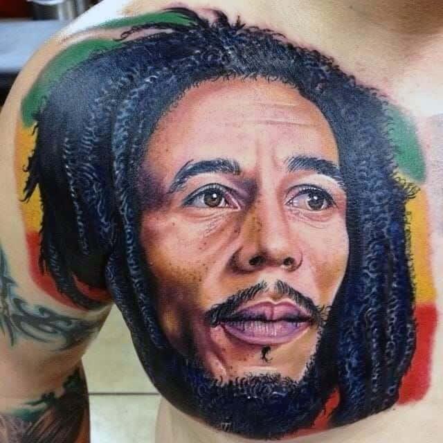 Bob Marley Upper Chest Realistic Tattoos Men