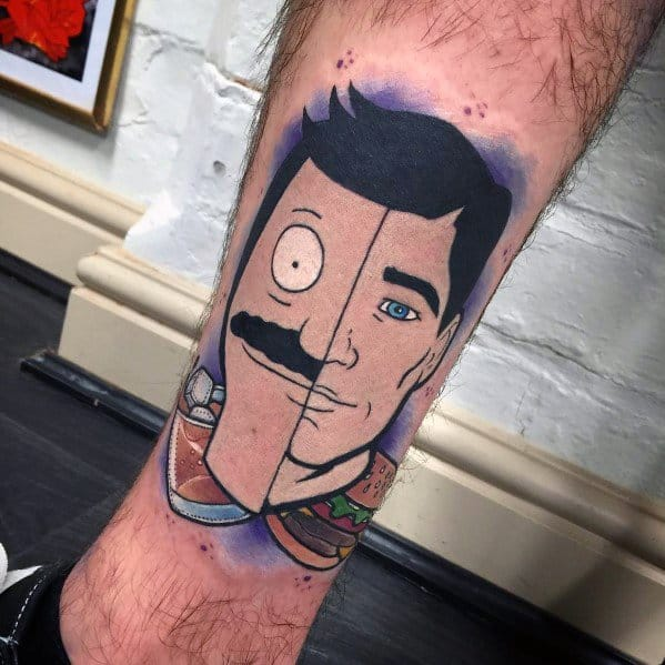 Bobs Burger Themed Split Archer Mens Tattoos On Leg
