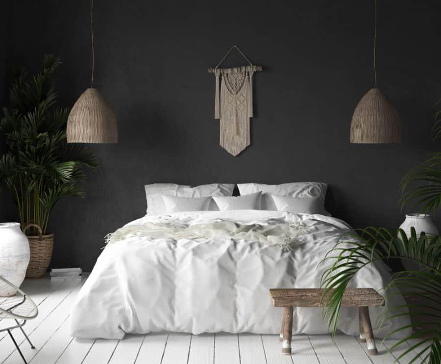boho black and white bedroom ideas