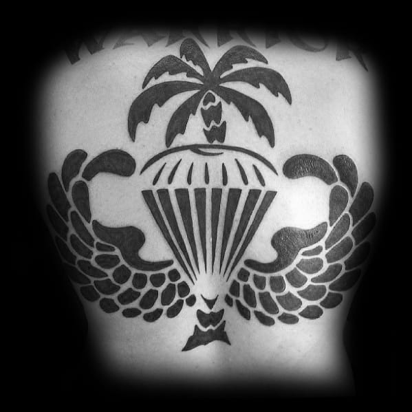 Bold Black Ink Back Parachute Mens Tattoo Ideas