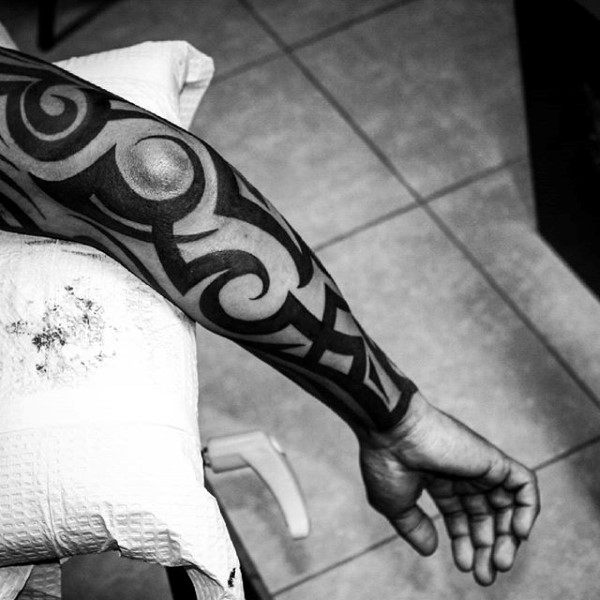 Bold Black Ink Full Tribal Sleeve Tattoos For Guys