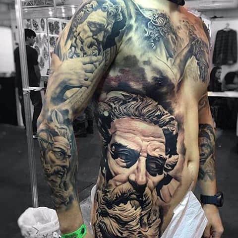 Bold Detailed Greek Myth Art Tattoos On Torso For Men