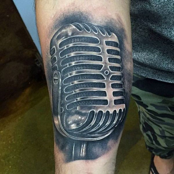 Bold Microphone Tattoo Mens Arms
