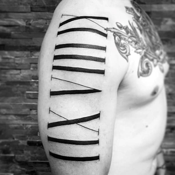 Bold Roman Numeral Black Ink Male Upper Arm Tattoos