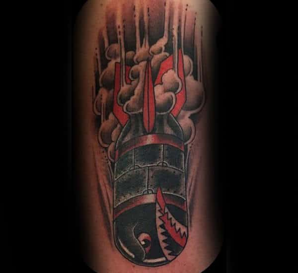 Bomb With Smoky Grey Explosion Tattoo Male Forearms