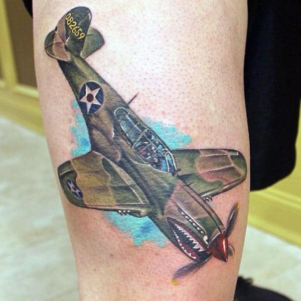 Bomber Fighter Plane Camouflage Mens Leg Tattoo