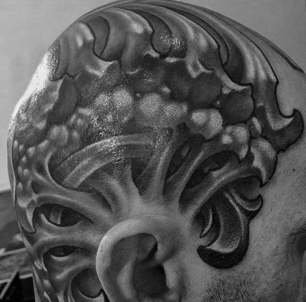 Bones 3d Head Tattoos For Gentlemen