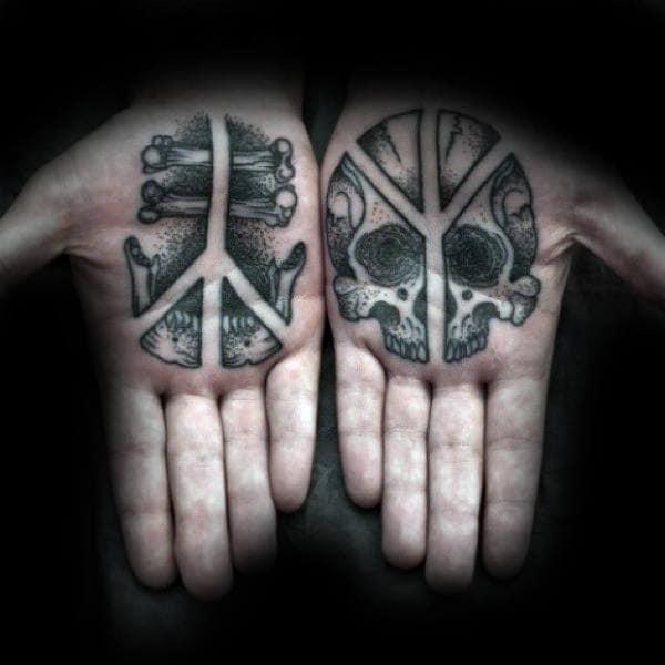 Bones And Skull Tattoo Male Palms