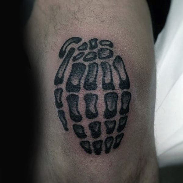 Bones Grenade Male Knee Tattoos