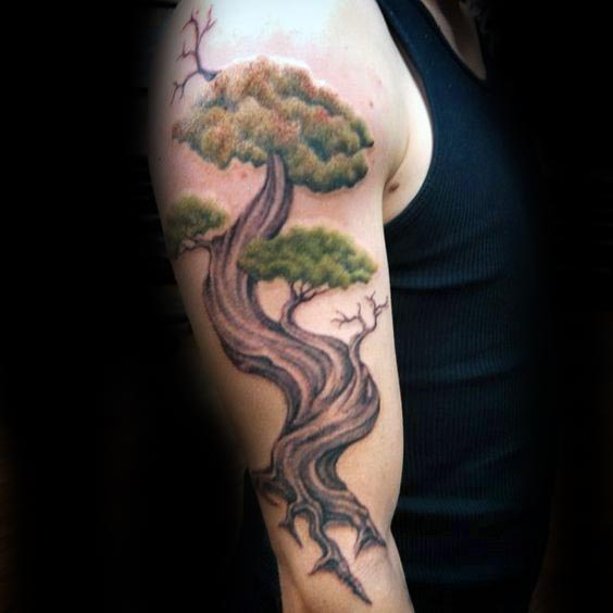 Bonsai Tree Half Sleeve Male Tattoo Design Inspiration