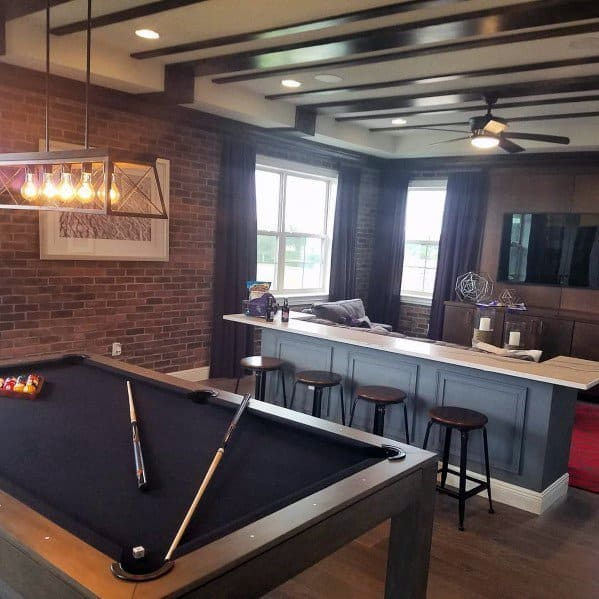 Bonus Room Design Inspiration With Pool Table And Home Bar