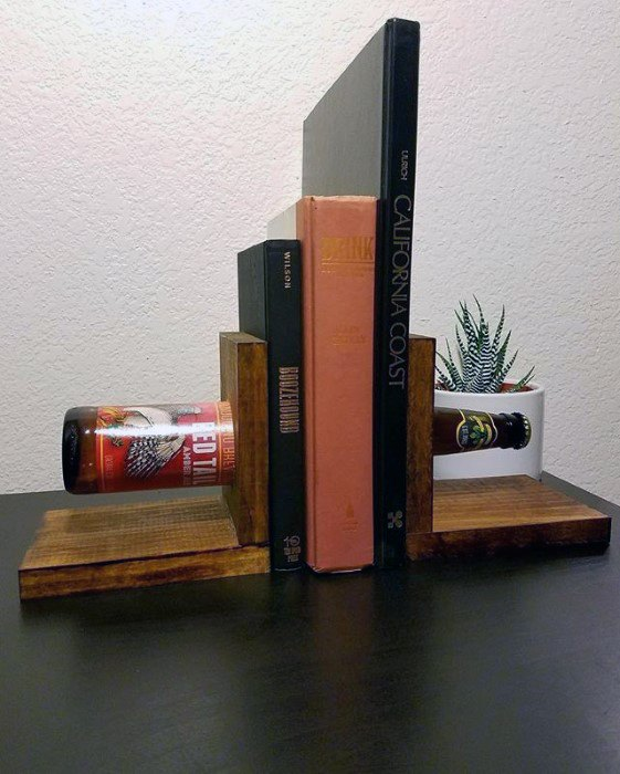 Book Ends With Beer Bottle Diy Man Cave Ideas