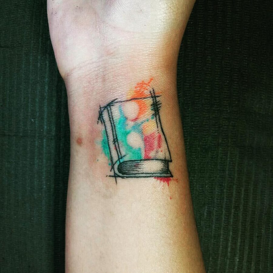 Book Watercolor Negative Space Semicolon Tattoo